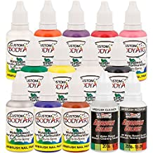 12 Color Set of Custom Body Art Airbrush Nail Paint Plus Reducer and Cleaner in 1 oz. Bottles