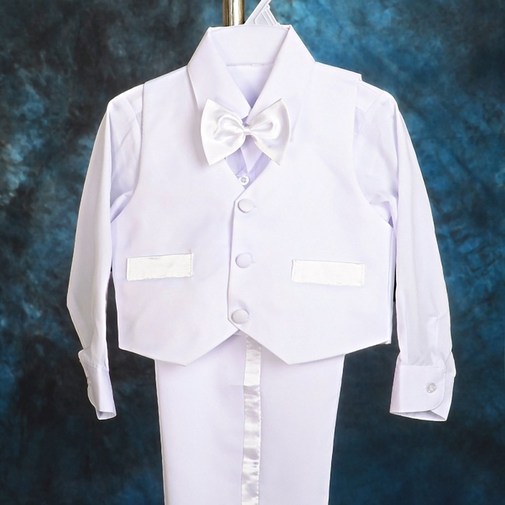 Dressy Daisy Boy 5 Pcs Set Formal Tuxedo Suits No Tail Wedding Outfits Size 3-4T White