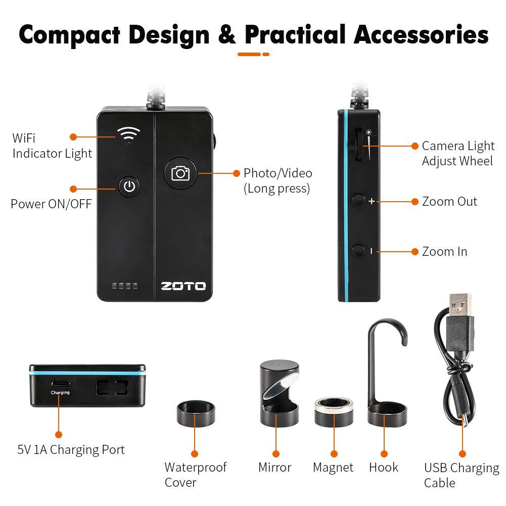 semirr/ígida impermeable C/ámara de inspecci/ón WiFi ZOTO bater/ía de 1800 mAh boroscopio autoenfoque 5 MP 1944P HD c/ámara de serpiente para smartphone Android e iOS c/ámara endosc/ópica inal/ámbrica
