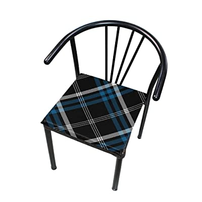 "Bardic HNTGHX Outdoor/Indoor Chair Cushion Stripe Plaid Pattern Square Memory Foam Seat Pads Cushion for Patio Dining, 16"" x 16"": Home & Kitchen"