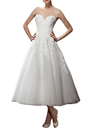 MonaBridal Womens A Line Lace Wedding Dress Sweetheart Backless Prom Gown White 2