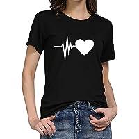 T-shirt voor dames met korte mouwen, zomer, zonnebloemprint, casual basic shirt, modieus, ronde hals, tieners, meisjes…
