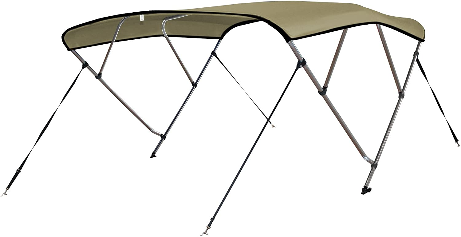 SavvyCraft 4 Bow Bimini Top Boat Cover 1 Inch Aluminum Frame with Storage Boot and Rear Poles Mounting Hardwares Includes Color Black,Gray,Beige,Navy,Blue,Green Teal,Burgundy Available 8 Size