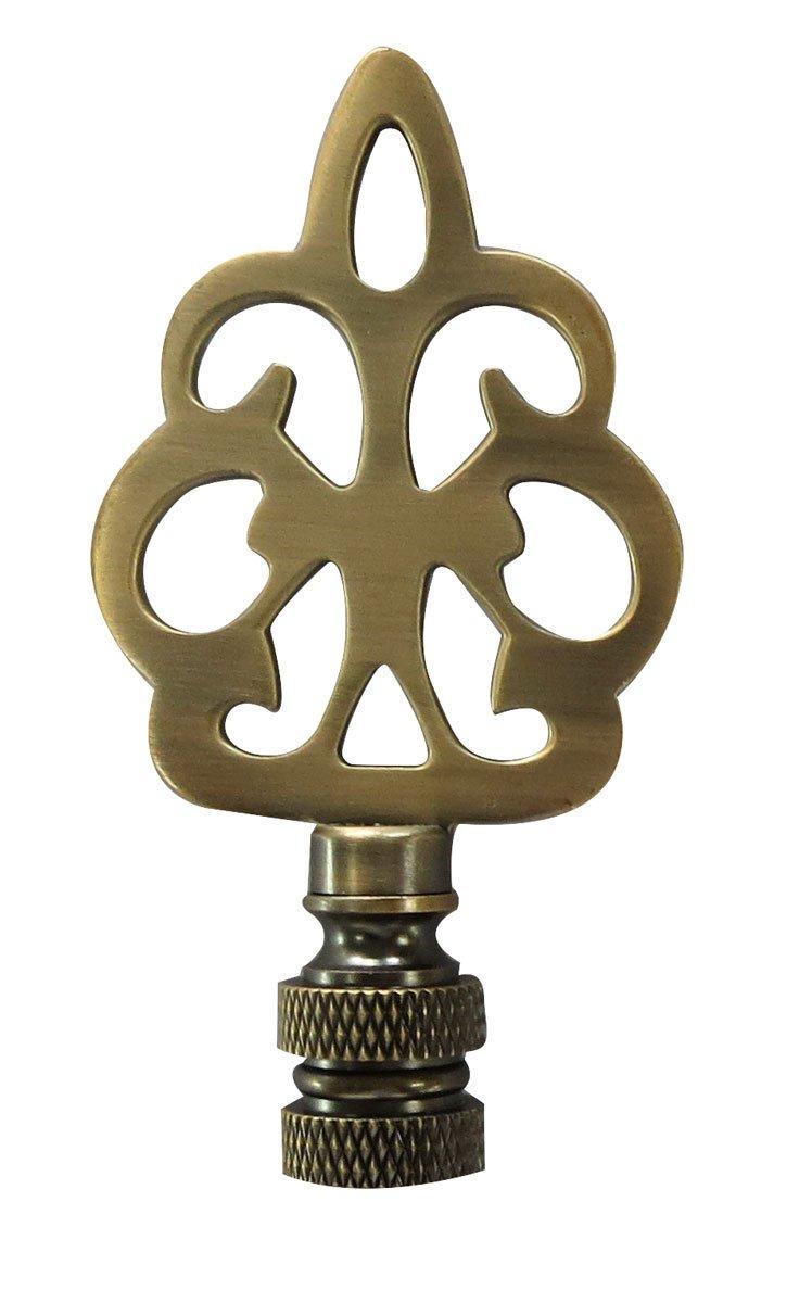 Royal Designs Open Filigree Motif Lamp Finial for Lamp Shade- Antique Brass
