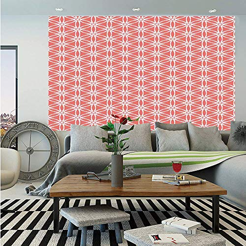 SoSung Coral Decor Wall Mural,Simplistic Linear Sunflower Tied Bound Crochet Damask Floral Lace Tiles Motif,Self-Adhesive Large Wallpaper for Home Decor 55x78 inches,Coral White