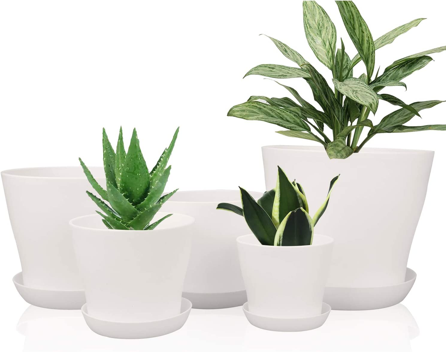 Plastic Plant Pots with Drainage Holes, Ufrount Gardening Containers, Flower Pots, Perfect for Garden/Yard/Kitchen/Flower/Succulents - Set of 10 (White)