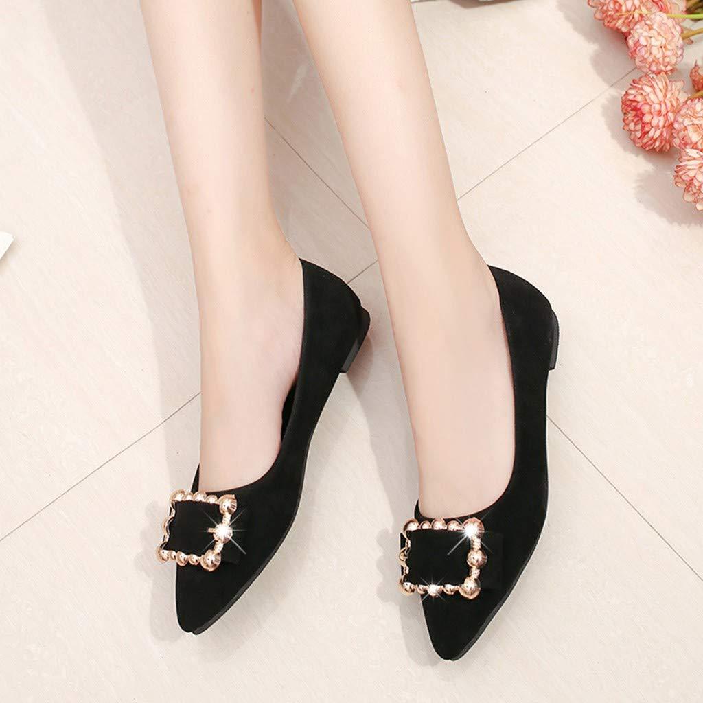 Suma-ma Womens Fashion Flock Flat Shoes Metal Shallow Single Pointed Toe Casual Shoes