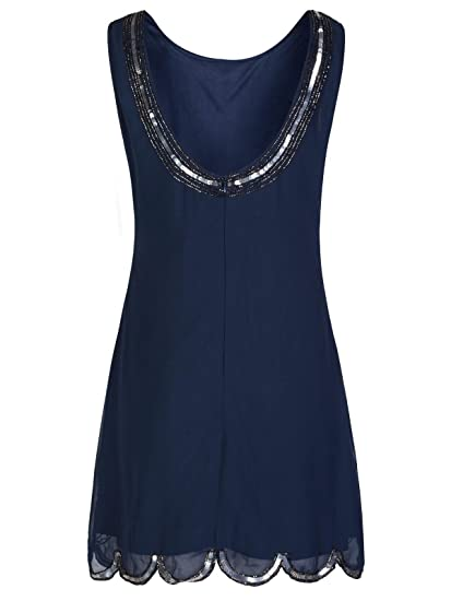 1920s Flapper Charleston Navy Chiffon Scallop Embellished Sequin Shift Dress: Amazon.co.uk: Clothing