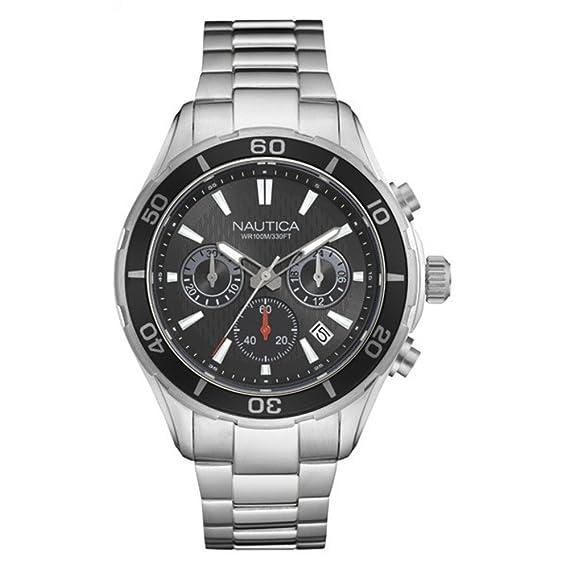 Nautica Reloj Analógico para Hombre de Cuarzo con Correa en Acero Inoxidable 0656086079449: Amazon.es: Relojes