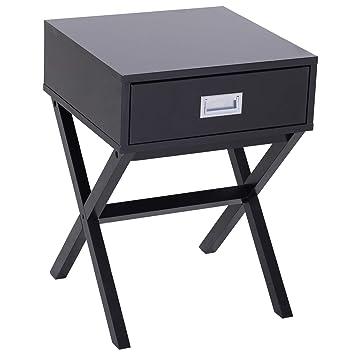 Homcom Chevet Table de Nuit Design Contemporain dim. 40L x 40l x 56H cm  tiroir Pieds en Croix Bois Massif pin MDF Noir