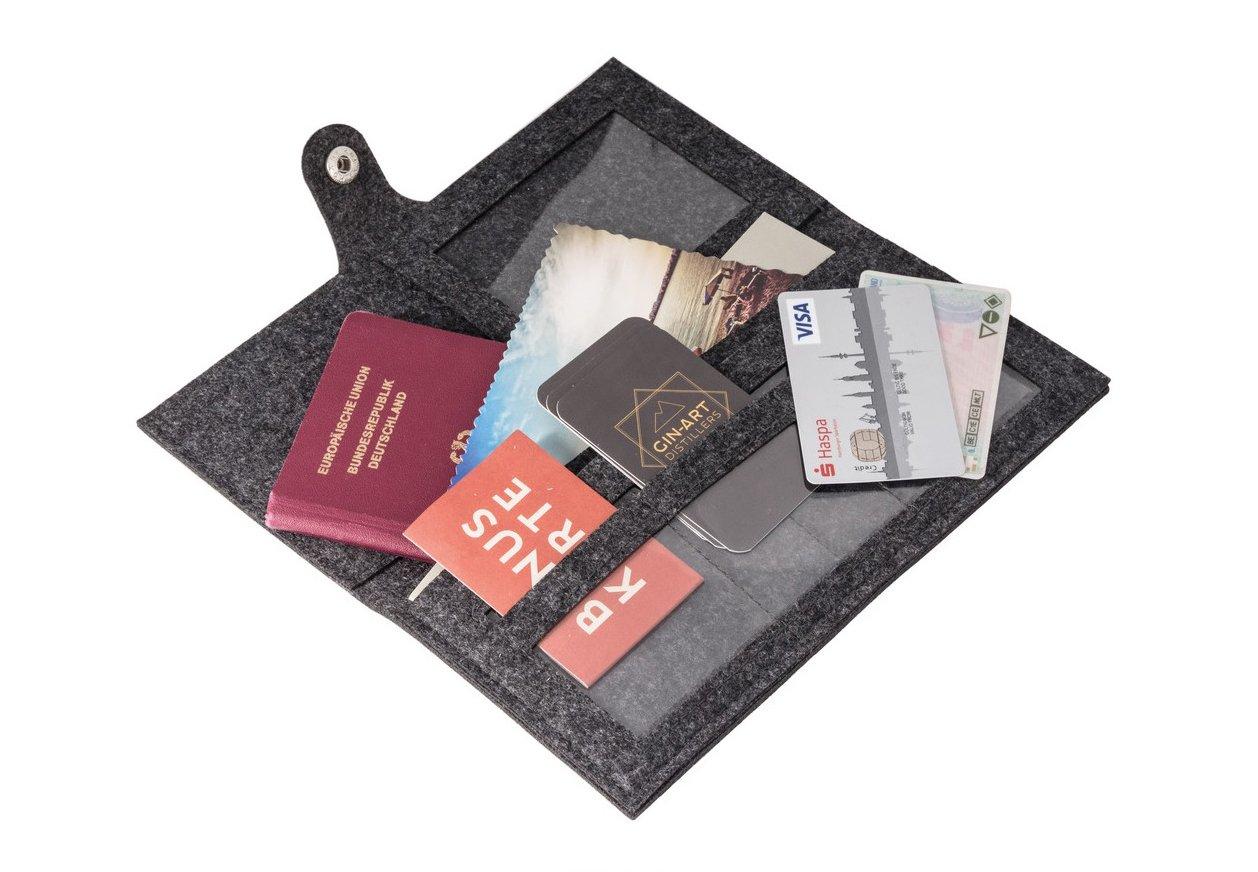 Stift moderne Reise Tasche f/ür Dokumente Dokumententasche Flugticket Etui Karten vielen F/ächer Reiseorganizer aus Filz GRAU Reisemappe f/ür Reisedokumente mit Druckknopfverschluss
