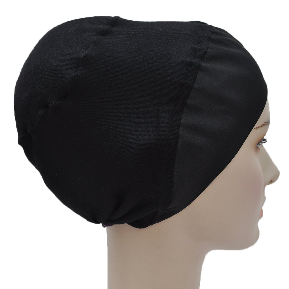 Silk Story Volumizer Cotton Lycra Satin Hijab Turban Bun Under Scarf Chemo Cap Hair Loss(Black)