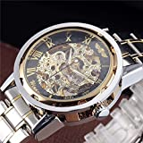 WINNER Men's Luxury Decent Business Mechanical Wrist Watch Steel Strap Skeleton Hollow Dial Concise Style