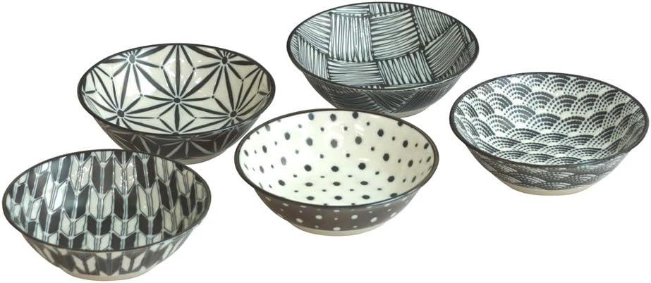 5 Bowls Set Japanese Black Bowls with Hopping Rabbits /& Moon Set for Rice,Soup etc. Asahi Kyouyou