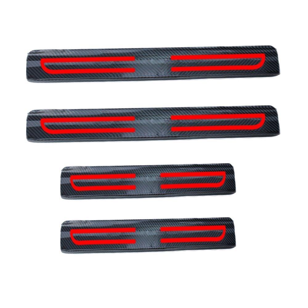 Tuqiang Auto Porta Davanzale Adesivo 3D Fibra di Carbonio Pedale Soglia AntiGraffio Adesivo di Protezione 4 Pezzi Rosso