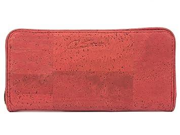 Cartera para mujeres SIMARU / Billetera con monedero, compartimento grande y espacio para 16 tarjetas - Billetera hecha de piel vegana de corcho- Color ...