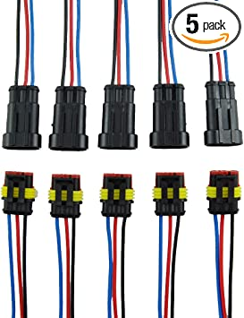 Qook 5 Kit 2 Pin Way Car Waterproof Electrical Connector Plug Male Female Wire Cable Connector Plug with Wire AWG Marine
