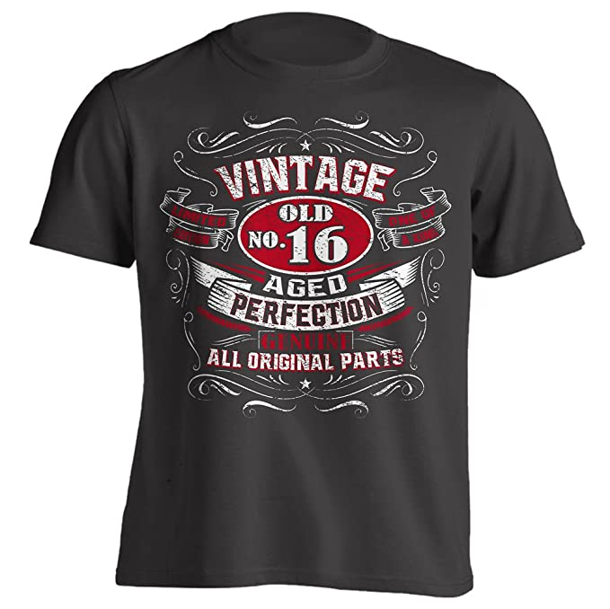4Ink Vintage 16th Birthday Gift Shirt For Men Black Small