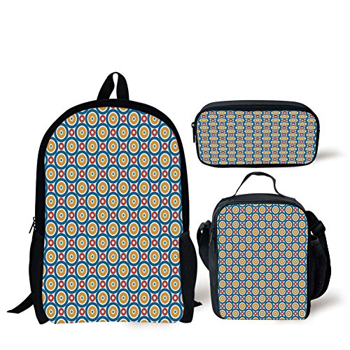 School Lunch Pen,Kids,Big and Small Circles with Dots Vibrant Colored Symmetrical Tile Pattern,Blue Marigold Scarlet,Bags