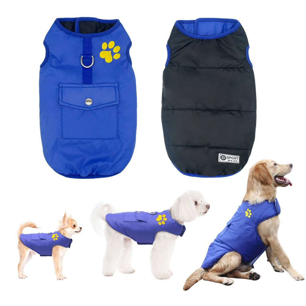 Didog Winter Waterproof Dog Vest Coats Jackets,Warm Reversible Outwear for Small Medium Large Dogs,Blue,XXL Size
