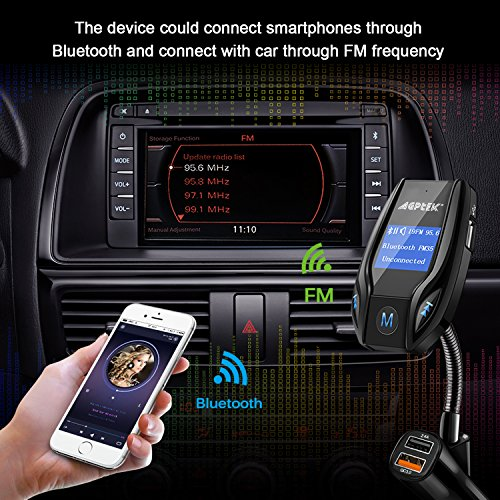 Bluetooth FM Transmitter for Car with Quick Charge 3.0 Wireless In-Car Radio Transmitter Adapter Support AUX Input/TF Card/USB Flash Drive/Hands-Free Calling by MYPIN (Image #3)