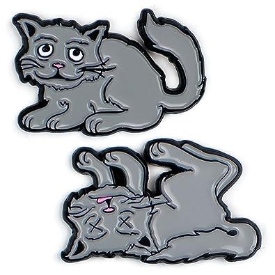 Schrodinger's Cat Enamel Pin Set - 2 Unique Colored Metal