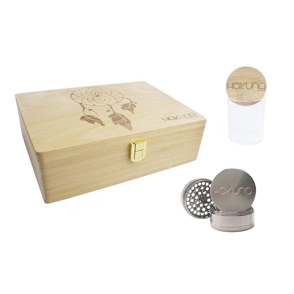 Hakuna Supply Rolling Sleeve Wooden Stash Box - Premium Bamboo Herb Stash Jar & Herb Grinder Stash Box Set (Dream Catcher)