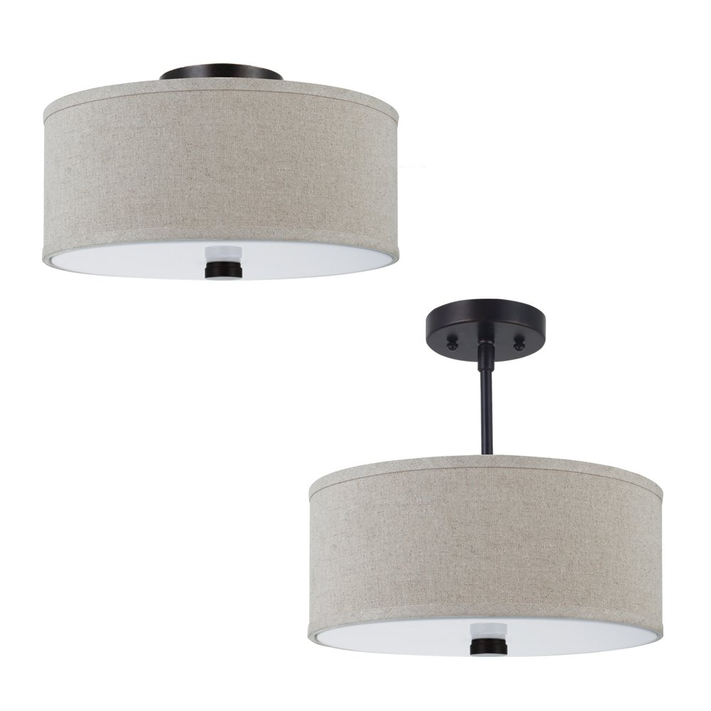 sea gull dayna shade pendants 2light semi flush fixture - Semi Flush Mount Lighting