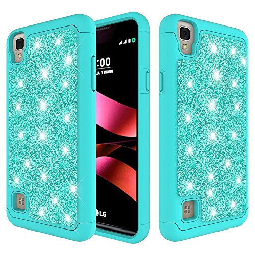 LG Tribute HD Case, LG X Style Case (Sprint Boost Virgin Simple Mobile) [Shock Absorption Impact Resistant] Dual Layer Defender Protective Hard Shell Slim Case by Zase (Glitter Teal Mint )