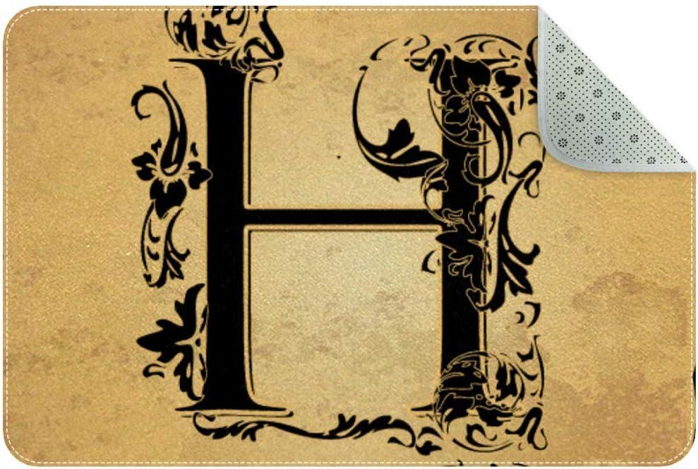 LORVIES Initials-Letter-H Indoor Door Mat, Non-Slip Absorbent Doormat Inside Floor Mats Area Rug for Entryway, Machine Washable Entrance Rug Outdoor 35x24