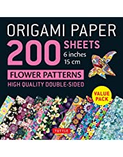 Origami Paper 200 sheets Flower Patterns: High-Quality Double Sided Origami Sheets Printed with 12 Different Designs (Instructions for 6 Projects Included)