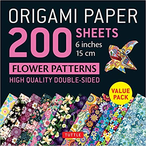 Instructions for 6 Projects Included 15 cm : High-Quality Double Sided Origami Sheets Printed with 12 Different Designs Origami Paper 200 sheets Flower Patterns 6