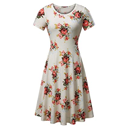 9e2781796c7 Kinrui Women s Summer Casual Short Sleeve Floral Printing Beach A Line  Swing Sundress Dress (White