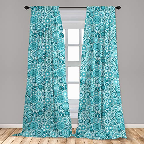 "Ambesonne Aqua Curtains, Hippie Floral Leaves Mandala Rounds Traditional Elements Print, Window Treatments 2 Panel Set for Living Room Bedroom Decor, 56"" x 63"", Turquoise White"