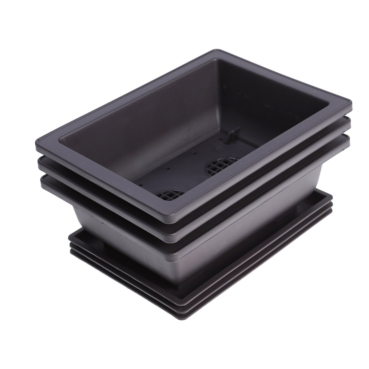 Yardwe 3 PZ Vasi di plastica per Piante rettangolari vasi da Balcone Vasi Succulente di plastica Vasi da Giardino 2,75 x 2,95 x 2,95 Pollici Marrone Scuro