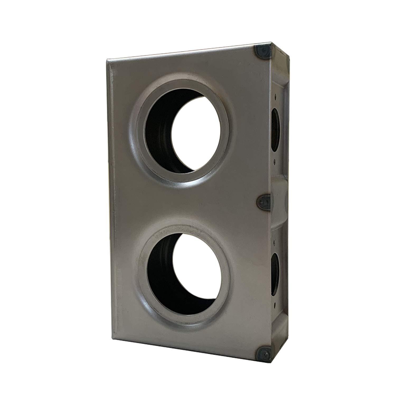OASIS Gate Lock Box Double Hole 7-5/8'' x 4-1/2'' x 2'' Weldable Steel lockbox for Gate, Bubble Style Unpainted
