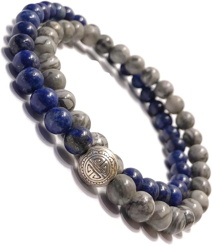 KarmaArm Spiritual Bracelets Faith Bead Boho Stretch Bracelets Beaded Reiki Yoga Chakra Bracelet Believe: Lapis Meditation Jewelry