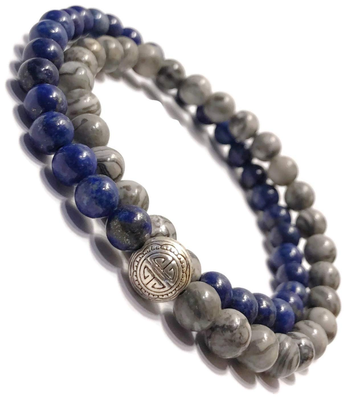 KarmaArm Beaded Bracelets | Good Fortune: Lapis Lazuli | Silver Crazy Lace Agate Good Luck & Prosperity Beaded Reiki Yoga Chakra Bracelet, Meditation Jewelry Boho Stretch Bracelets (7)