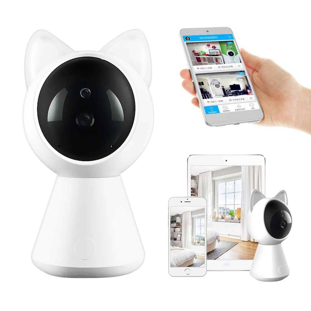 WiFi IP Camera Wireless Home Security Surveillance IP Camera for Baby/Elder/ Pet/Nanny Monitor, Pan/Tilt, Two-Way Audio & Night Vision 1080P & 2.4GHz Surveillance Camera, Motion Alarm (White)