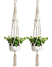 Macrame Plant Hanger, 2 Pack Dulcii Indoor Outdoor Flower Pot Plant Holder Hanging Plant Basket Handmade Cotton Rope, 4 Legs,41 inch-2 Pack