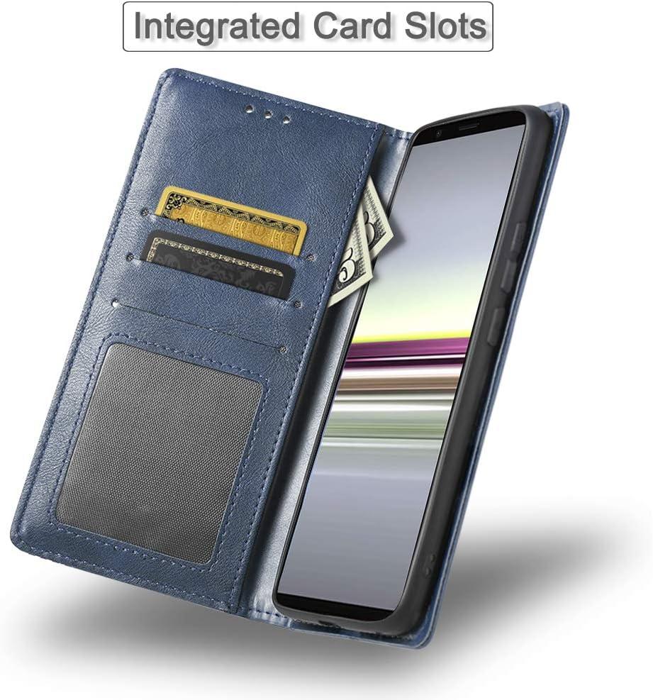 iHOY Funda para Sony Xperia 5, Cuaderno Cuero PU Retro y Elegante Cubierta Suave con Cierre Magn/ético Incorporado