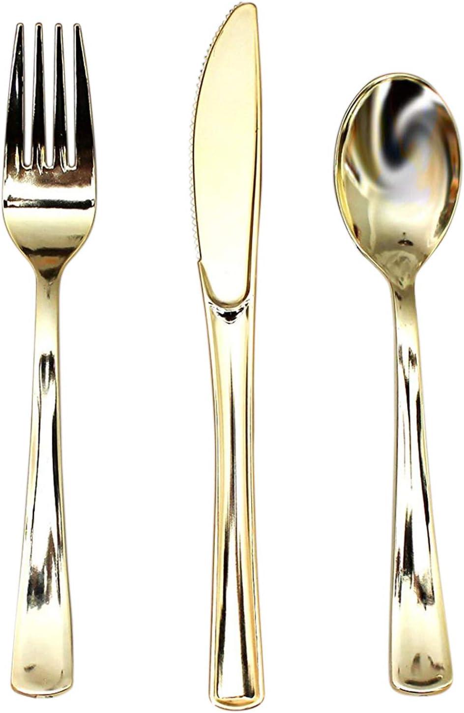 Cubertería Plástico Dorado 180 Piezas Reutilizables 60 Set de Tenedores, Cuchillos y Cucharas - Resistente para Fiestas, Bodas y BBQ - Kit de Utensilios Completo