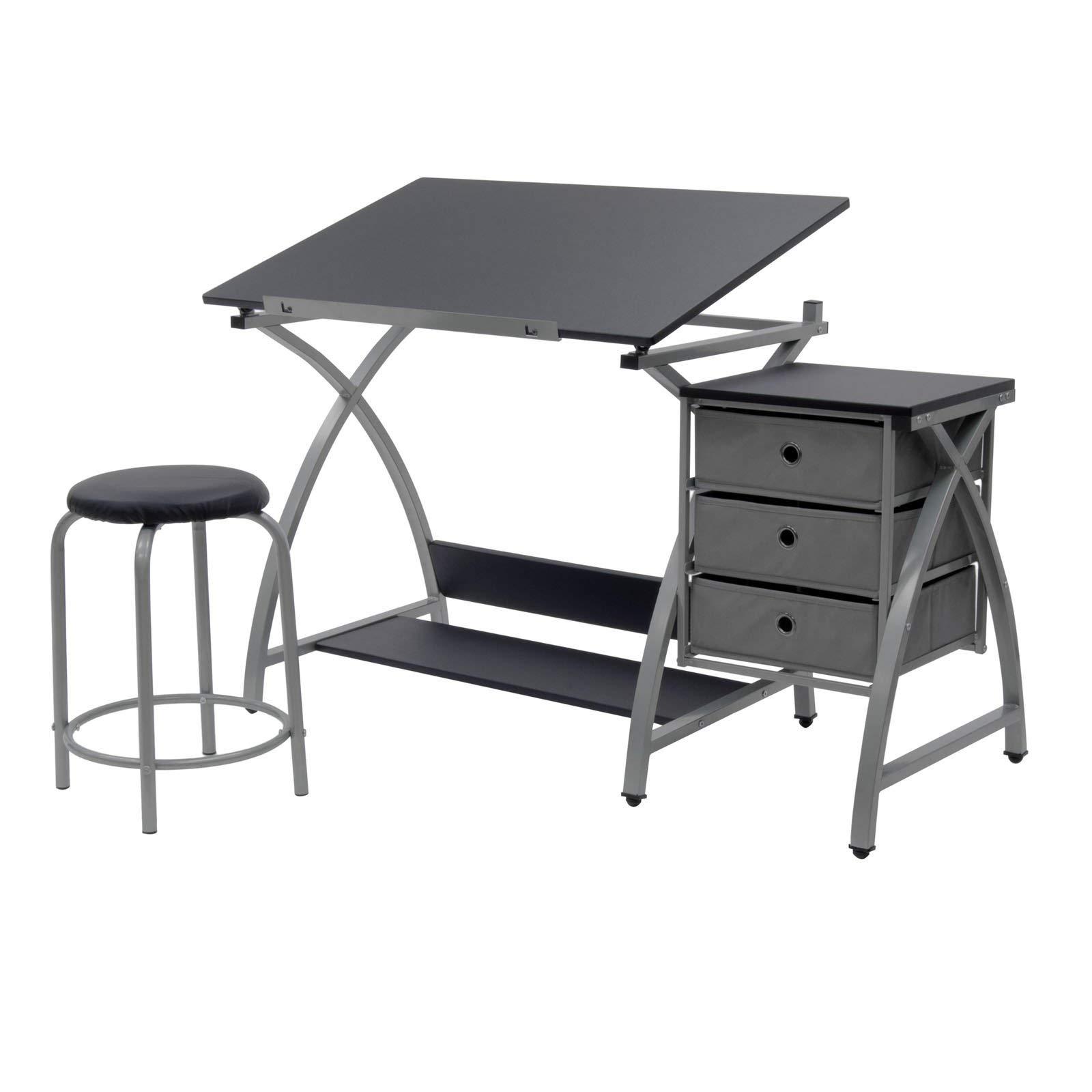 Studio Designs Laminate Craft Table Comet Center with Stool, Black (2 Pack) by STUDIO DESIGNS INSPIRING CREATIVITY WWW.STUDIODESIGNS.COM (Image #2)