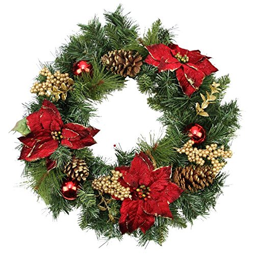 northlight unlit artificial mixed pine with red poinsettias gold pine cones and berries christmas wreath 24