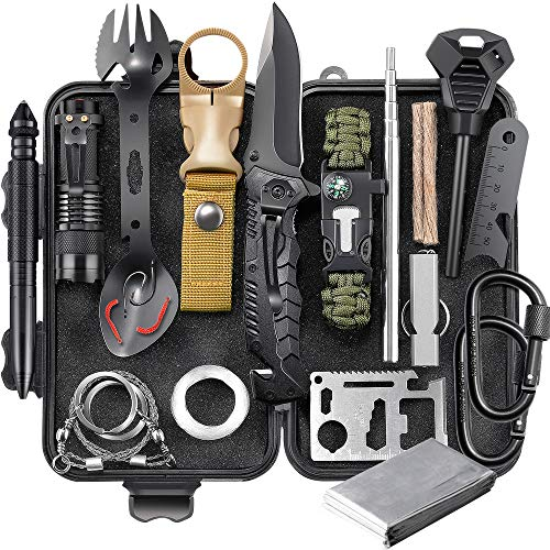 EILIKS Survival Gear Kit, Emergency EDC Survival Tools 24 in 1 SOS Earthquake Aid Equipment, Cool Top Gadgets Valentines…