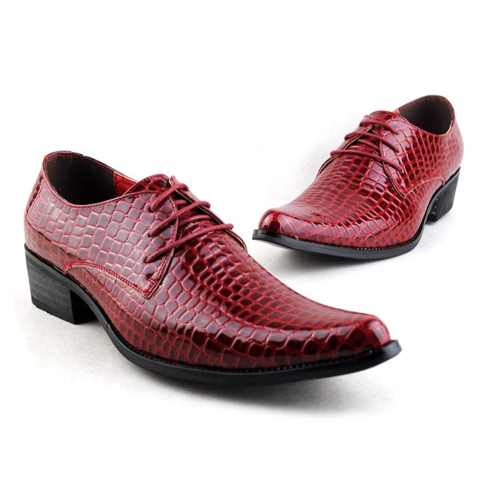 Ruiyue Mode Oxford Casual Persönlichkeit Snakeskin Spitzschuh Lace Lace Lace Up Lackleder Formelle Schuhe Für Männer (Farbe   Rot, Größe   38 EU) 40b881