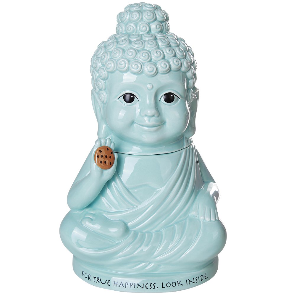 Meditation Buddha Happiness Inside Ceramic Cookie Jar Functional Kitchen Decor 8 Inch Tall Johnson Smith co.