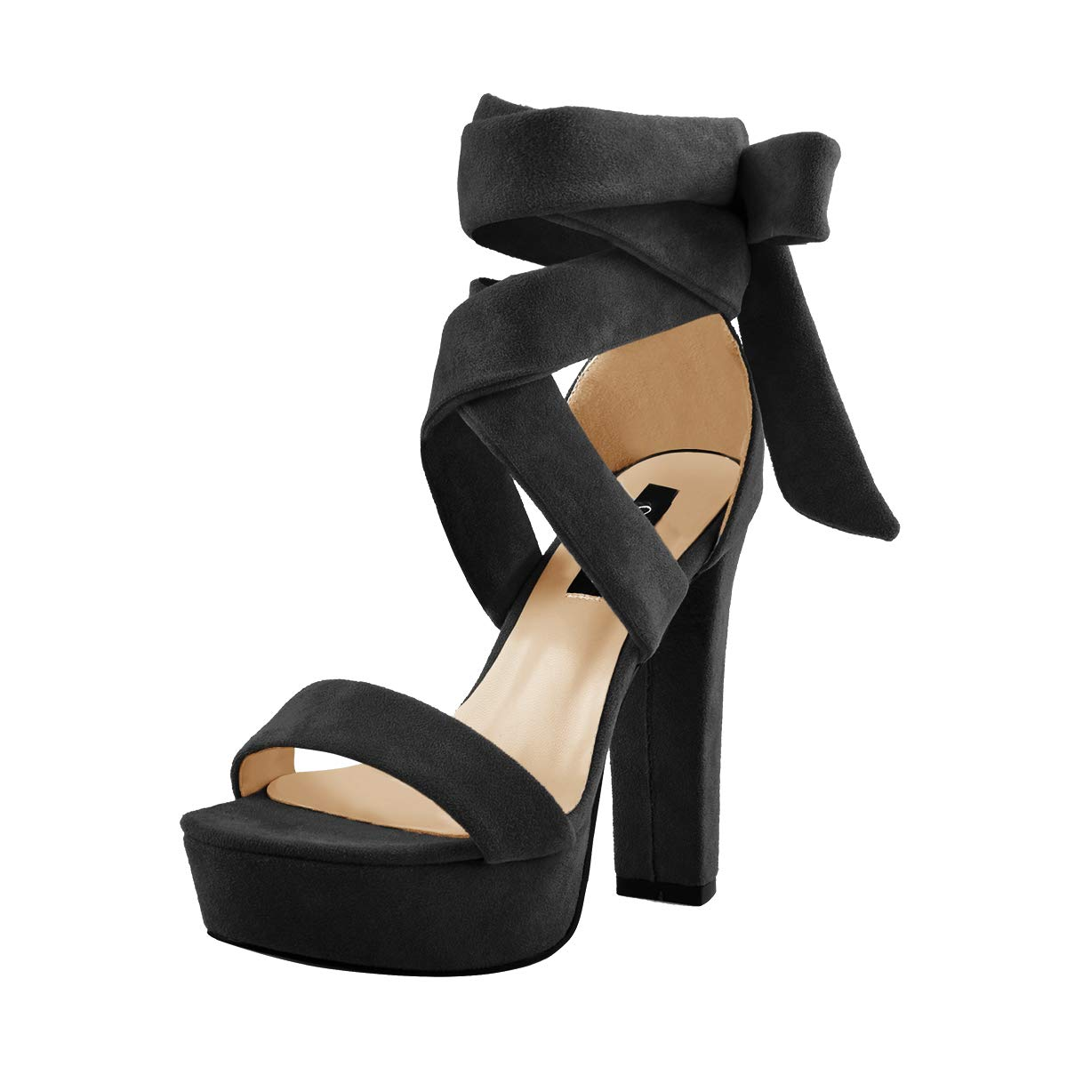 bc9e9474779 Onlymaker Women's Platform Chunky High Heel Lace Up Sandals Open Toe Ankle  Strap Single Band Shoes
