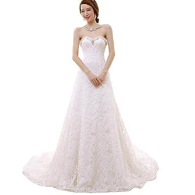 Women S Strapless Diamonds Train Wedding Dress At Amazon Women S