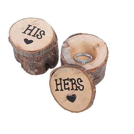 2 soportes para anillos de boda, anillo de madera, caja de ...